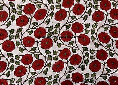 5 Yard Indian hand block Print Fabric Red Floral Cotton Garment Dress Fabric art