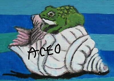 """A871    Original Acrylic Aceo  Painting By Ljh        """"Octopus"""" 7"""