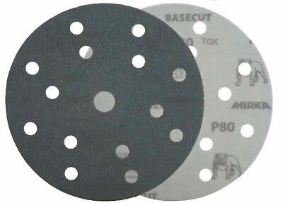 "Mirka Basecut 15 Hole Hook n Loop Sanding Discs H&L 150mm 6"" Sand Paper Disks 5"