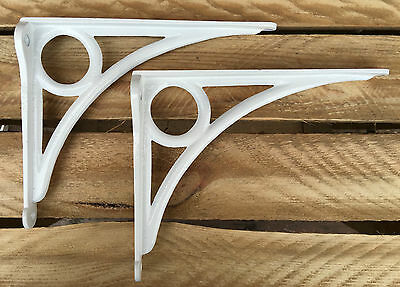 "Pair White 8x6"" ANTIQUE HEAVY CAST IRON VICTORIAN SHELF WALL BRACKETS - BR24wx2 3"