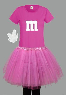 M&M Kostüm MM Fans Tüllrock Damen T-Shirt Tutu Tütü Fasching Gruppenkostüm 12