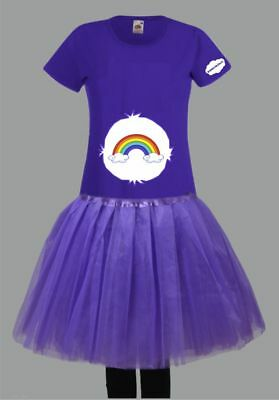 Kostüm für Glücksbärchi Fans Damen T-Shirt Tütü/Rock Gruppenkostüm Karneval JGA 2