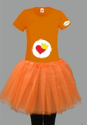 Kostüm für Glücksbärchi Fans Damen T-Shirt Tütü/Rock Gruppenkostüm Karneval JGA 7
