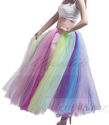 Women's Rainbow Long Petticoat Underskirt Colorful Skirts Slips Net Tutu Dress 2