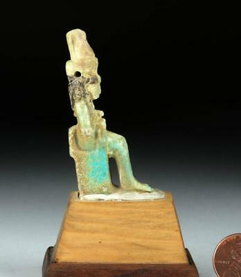 Egyptian Faience Amulet of Isis & Horus - Rare Form! Lot 3A
