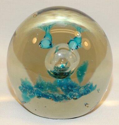 Beautiful Studio Art Glass Paperweight Aquarium 2 Blue Fish Large Bubble Blue 2