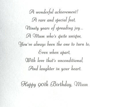 To A Wonderful Mum Happy 90th Birthday Beautiful Greeting Card Lovely Words 3