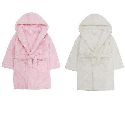 Girls Dressing Gown Fleece Flamingo Childrens Robe Black Pink Winter Warm Kids