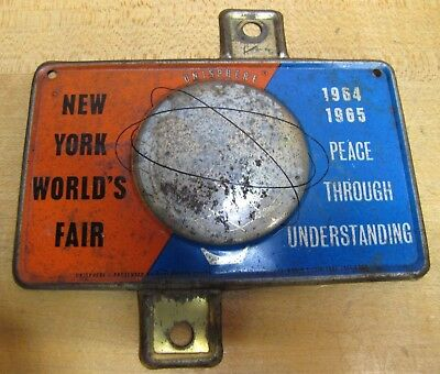 1964-65 New York World's Fair Unisphere License Plate Topper Bike Auto Sign NYWF 2