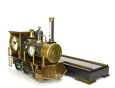 Large French Style 8 Day Brass Automaton Locomotive Industrial Train Clock 12