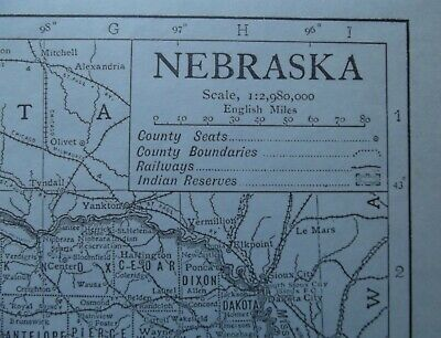 Vintage Map: Nebraska, United States, by Emery Walker, 1926, B/W 2