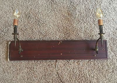 Brass Sconces On Wood Vintage Wired Pair 2