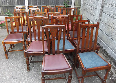 COLLECTION OF OAK 1920s REFURBISHED DINING CHAIRS - FOR PUBS, RESTAURANTS ETC 10