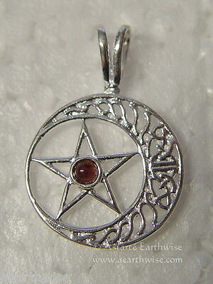 CELTIC PENTAGRAM MOON PENDANT Wicca Witch Reiki Pagan Goth PENTACLE