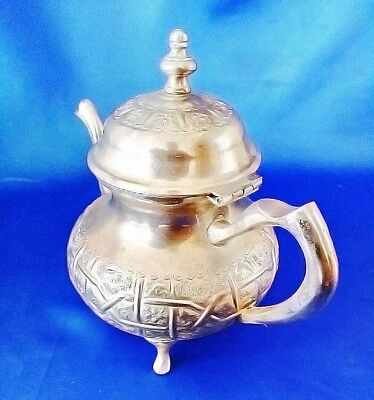 Beautiful  Handcrafted Marked  Islamic  Moroccan Hammered Teapot Tea Pot Unused 2