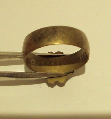VINTAGE NICE BRONZE RING WITH RED STONE FROM THE EARLY 20th CENTURY # 909 6