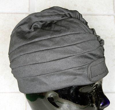 vintage Damen Bade Mütze Kappe Haube 80er schwarz gebraucht #105