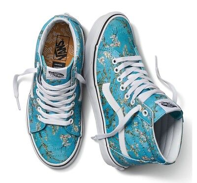NIB Vans Limited VAN GOGH ALMOND BLOSSOM SK8-HI in Teal & White - LAST ONES