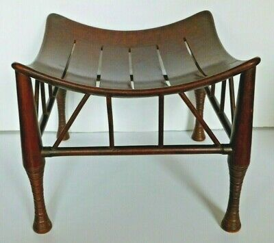 Antique Thebes Stool Wooden Egyptian Revival Arts and Crafts Period Circa 1900 5