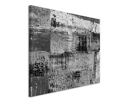 120x80cm Abstrakt/_1304 Schwarz Weiß Stern Star Wandbild Leinwand Sinus Art