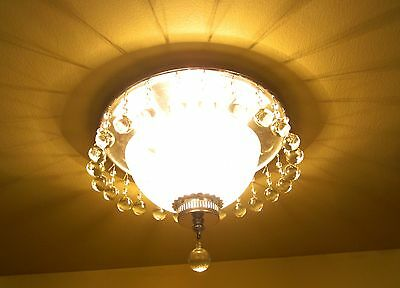 Vintage Lighting exquisite circa 1940 crystal fixture   Ideal for foyer or bath 2