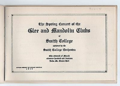 RARE 1916 SMITH COLLEGE Glee Mandolin MUSIC CLUB Program CONCERT Northampton MA 2