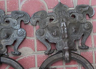 "13"" Chinese FengShui Purple Bronze Guardion Beast Animal BiXie Door Knocker Pair 4"