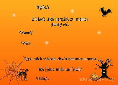 1 Von 2Kostenloser Versand 8 Einladungskarten Halloween Geburtstag Hexe  Spuk Kindergeburtstag Einladungen