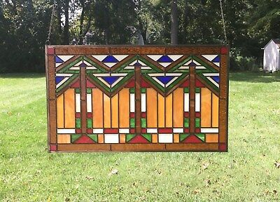"Tiffany Style stained glass window panel Mission style panel, 34.5""W x 20.5""H"