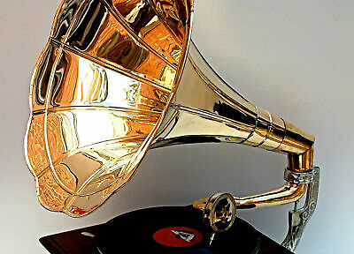 Replica Gramophone Player 78 rpm phonograph Brass Horn HMV Vintage Wind Up 7