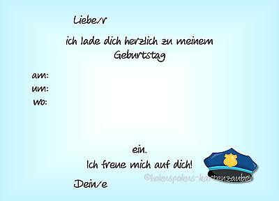 1 Von 2Kostenloser Versand 8 Einladungskarten Polizei Geburtstag Kinder Kindergeburtstag  Einladungen Jungen