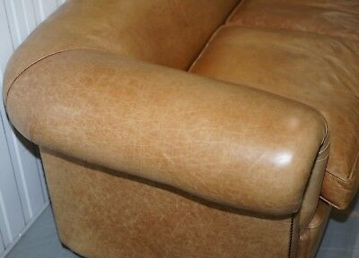 1 Of 2 Vintage Victorian Style Restored Brown Leather Club Sofas Coil Sprung 6