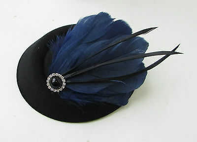 Black Navy Blue Feather Pillbox Hat Fascinator Vintage Races Headpiece 1920s 9AE 6