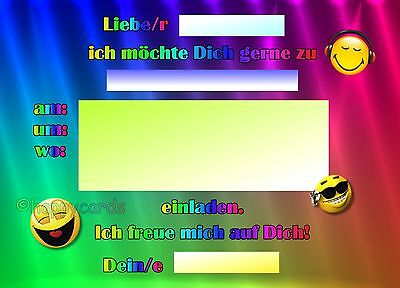 8 Einladungskarten Smiley Emoji Geburtstag Kinder Disco Party