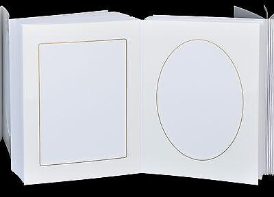 Leporello für 50 Fotos 13x18 - weiß mit Goldkante - Passepartouts eckig + oval 5