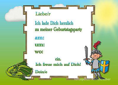 1 Von 2Kostenloser Versand 8 Einladungskarten Drachen Ritter Geburtstag  Kinder Kindergeburtstag Einladungen