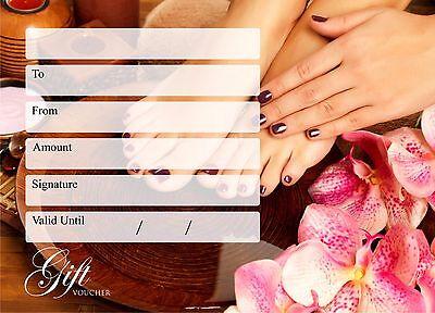 Beauty Salon Gift Voucher Manicure Nail Pedicure x 25 with Envelopes UK Post
