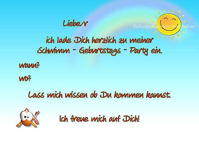 1 Von 2Kostenloser Versand 8 Einladungskarten Schwimmen Geburtstag Kinder Kindergeburtstag  Einladungen