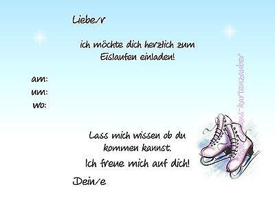 1 Von 2Kostenloser Versand 8 Einladungskarten Schlittschuhe Geburtstag  Kindergeburtstag Schlittschuhlaufen