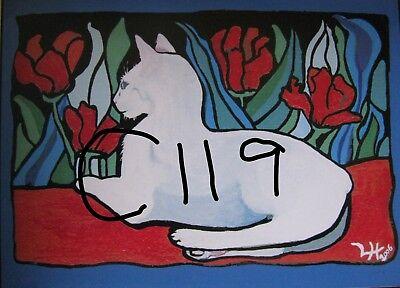 "C179  Original Acrylic Painting By Ljh  ""Teddy ""  British Shorthair  Cat  Kitten 9"