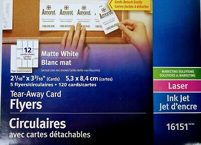 Avery Tear-Away Card Flyers - Mate White AVE16151 -  5 Flyers 120 Cards Ink-Jet 8