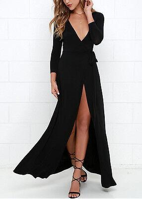 ... Vestito Nero Lungo Donna con Spacco Woman Black Maxi dress 110151 3 3cf640811e8