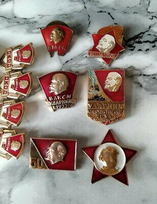 Set of 35 Original Russian RKKA VLKSM WW2 Badge USSR Red Star Soviet Lenin 3
