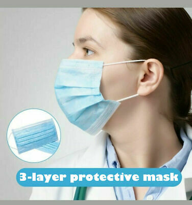 50 PCS Disposable Face Mask Shield 3-Ply Medical Surgical Dental Mouth Cover 3
