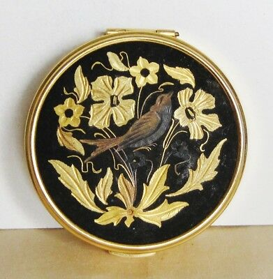 Vintage Russian Metal Powder Box With Mirror Etched Flowers & Bird Gold Tone 2