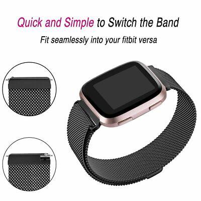 For Fitbit Versa Versa 2 Lite Band Stainless Steel Metal Milanese Loop Wristband 4
