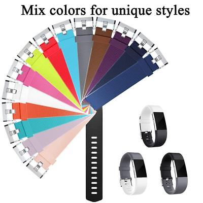 Replacement Watch Strap Band Metal Buckle Wristband Silicone For FitBit Charge 2 11
