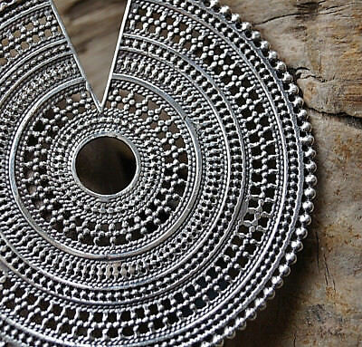 GALAKTISCH GROSS 10 cm Silber Kettenanhänger Floral Antik