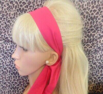 RED POLKA DOT SATIN FABRIC SELF TIE BOW HAIR SCARF HEAD BAND 50S 60S 80s RETRO