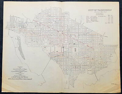 1880 F V Greene Large Antique Map Lines of Planted Trees in Washington DC 2